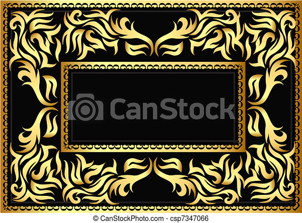frame with bright pattern on black  - csp7347066