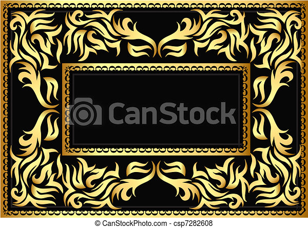 frame with bright pattern on black  - csp7282608
