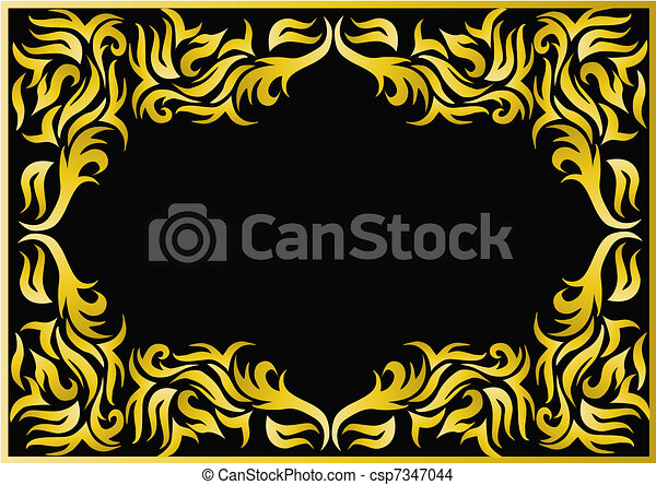 frame with bright pattern on black background - csp7347044