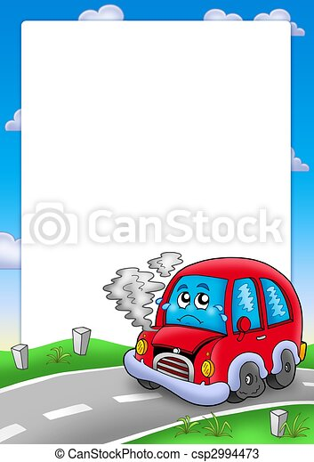 Frame with broken cartoon car - csp2994473