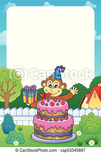 Frame with cake and party monkey theme 1 - eps10 vector illustration.