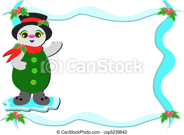 Frame with Christmas Snowman - csp5239642