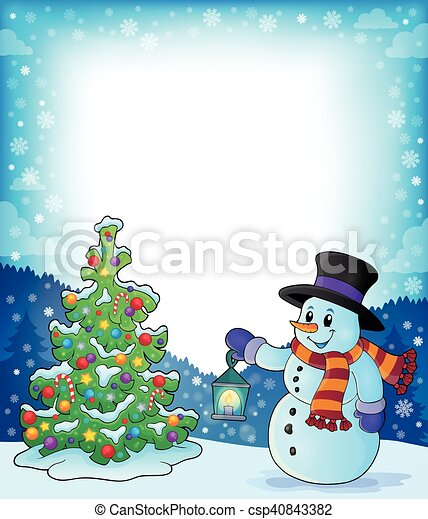 Frame with christmas tree and snowman 3 - eps10 vector illustration.