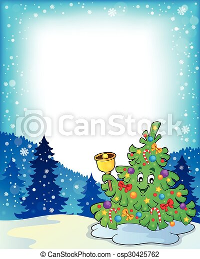 Frame with christmas tree topic 3 - eps10 vector illustration.