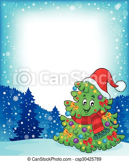 Frame with christmas tree topic 5 - eps10 vector illustration.