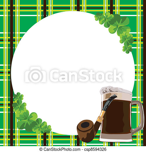 Frame with clover and beer. Checkered border with the symbols of the ...