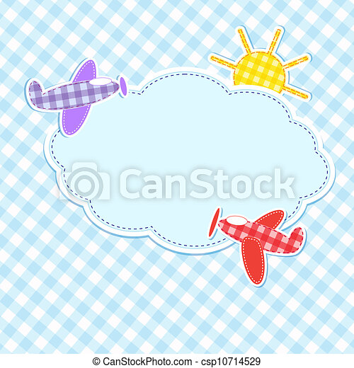 Frame with colorful aeroplanes - csp10714529