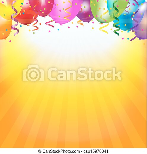 Frame With Colorful Balloons And Sunburst - csp15970041