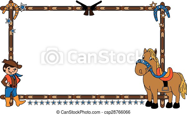 Frame with cowboy and horse. Frame vector illustration with cowboy ...