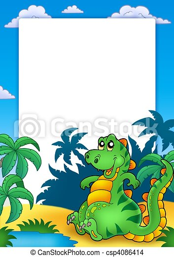 frame with cute sitting dinosaur color illustration