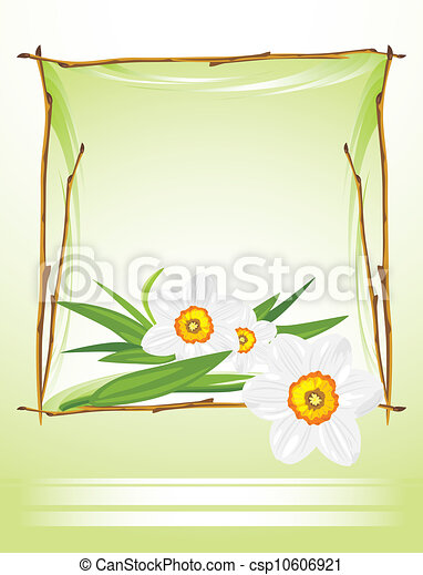 Frame with daffodils - csp10606921