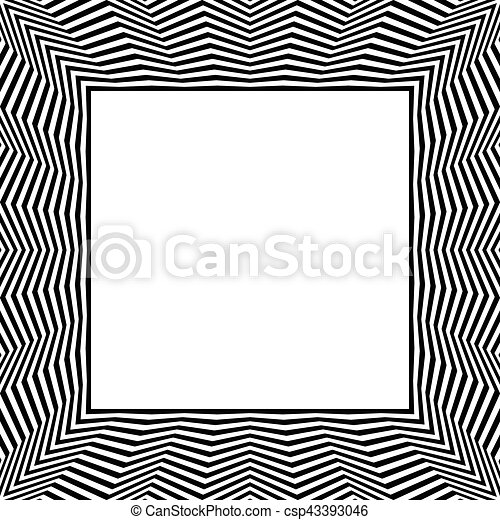 Frame with distorted radial wavy zigzag lines monochrome geometric borders