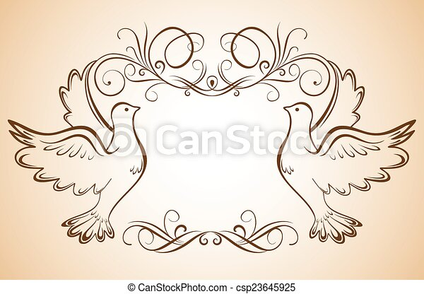 Frame with doves - csp23645925