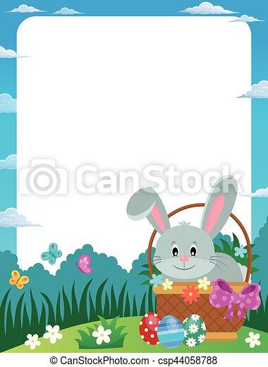Frame with easter bunny in basket - illustration.