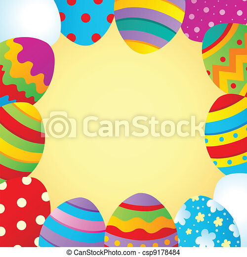 Frame with Easter theme 1 - csp9178484