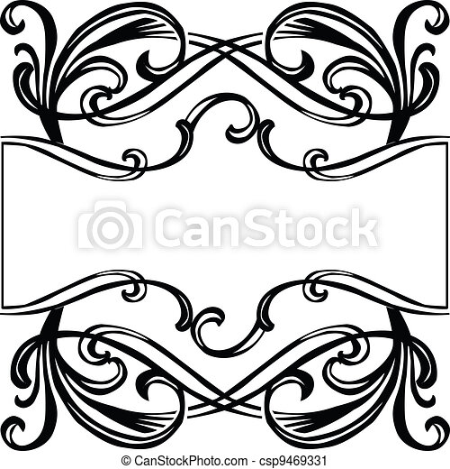 frame with filigree ornament - csp9469331