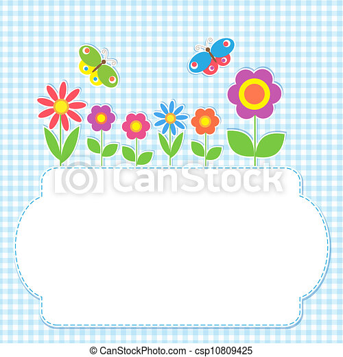 Frame with flowers and butterflies - csp10809425