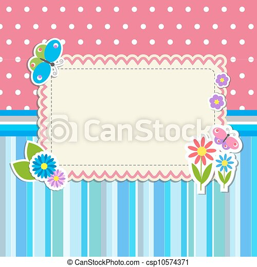 Frame with flowers and butterflies - csp10574371