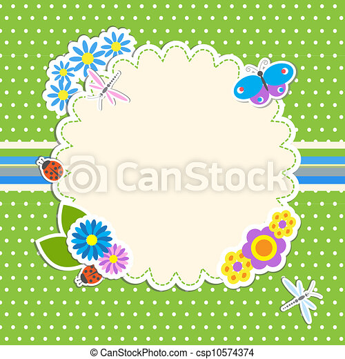 Frame with flowers and butterfly, ladybug,dragonfly - csp10574374