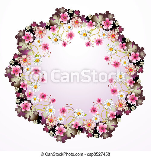 Frame with flowers - csp8527458