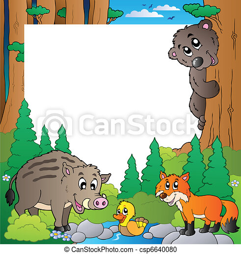 Frame with forest theme 2 - csp6640080