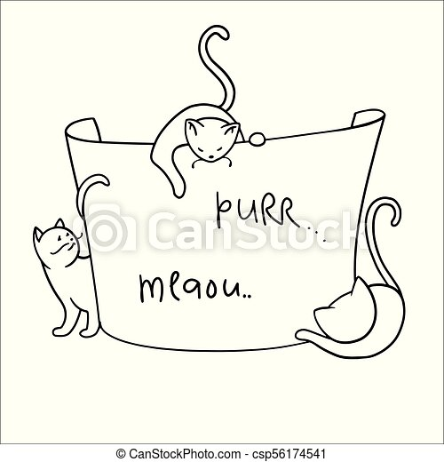 Frame With Funny Cartoon Cats Clipart Hands Painted Kittens