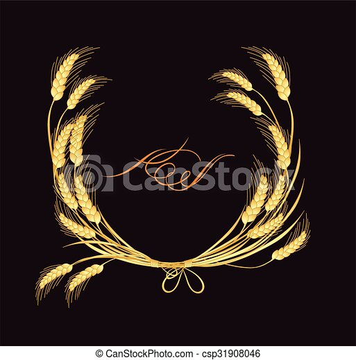 Frame with golden wheat - csp31908046