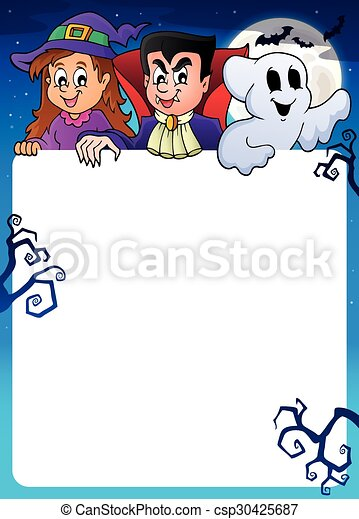Frame with Halloween characters topic 1 - csp30425687