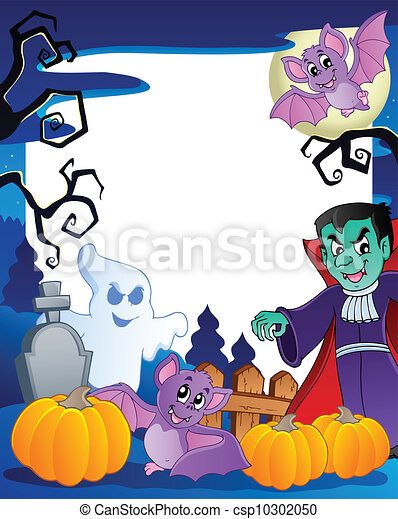 Frame with Halloween topic 6 - csp10302050