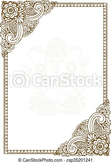 Frame with indian patterns. Hand-painted frame in the style of ...
