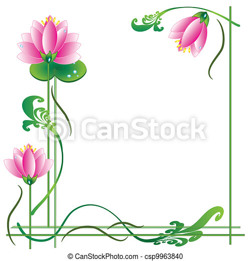 Frame with lotuses - csp9963840