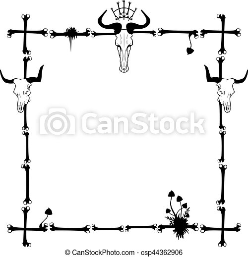 Vector frame with mushrooms and skull in black and white.