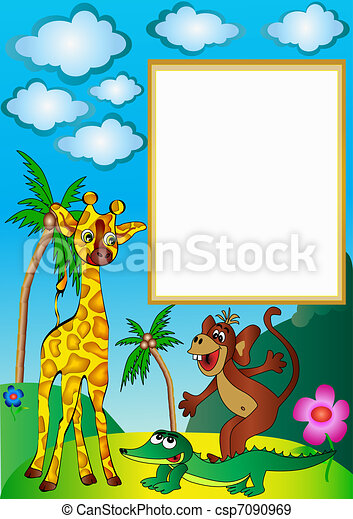 frame with palm by giraffe by ape and crocodile - csp7090969