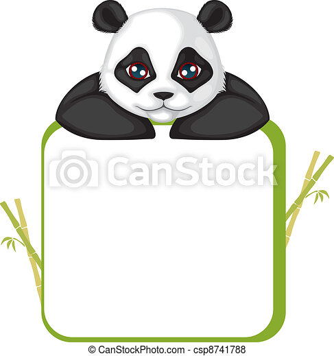 Frame With Panda Greetings Card With The Muzzle Of The Panda And Frame