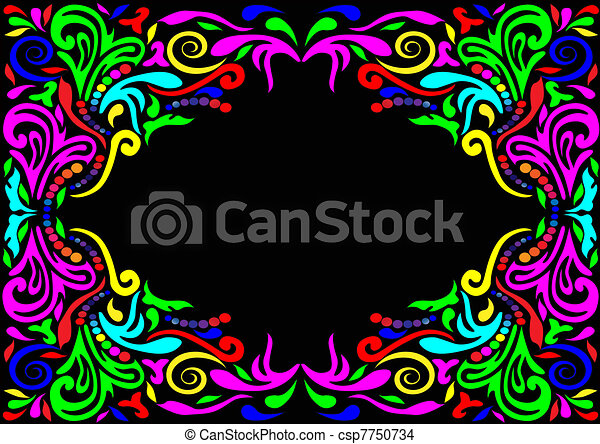 frame with pattern on black background  - csp7750734