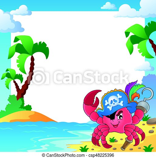 Frame with pirate crab - eps10 vector illustration.