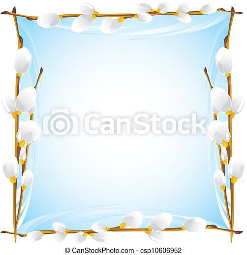 Frame with pussy willow branches - csp10606952