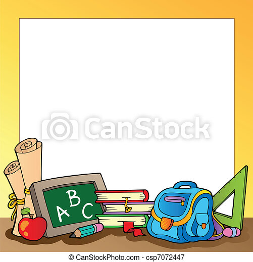 Frame with school supplies 1 - csp7072447