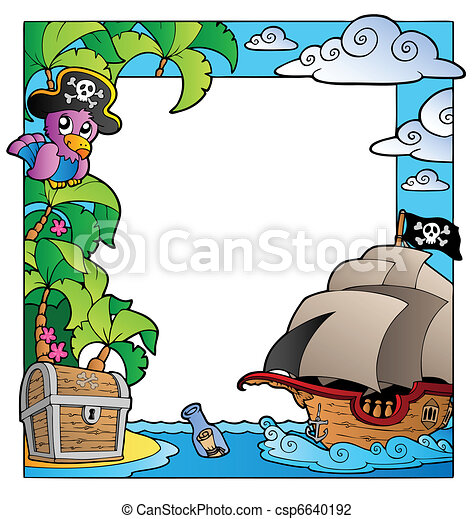 Frame with sea and pirate theme 1 - csp6640192