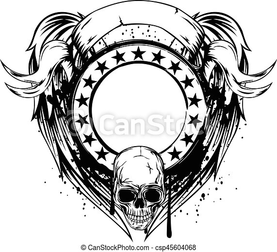 Frame with skull. Vector illustration skull and frame with stars on ...