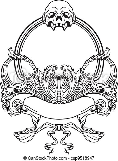 Frame with skull in art nouveau style. black and whie vector ...
