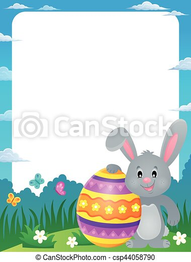 Frame with stylized bunny and easter egg - eps10 vector illustration.