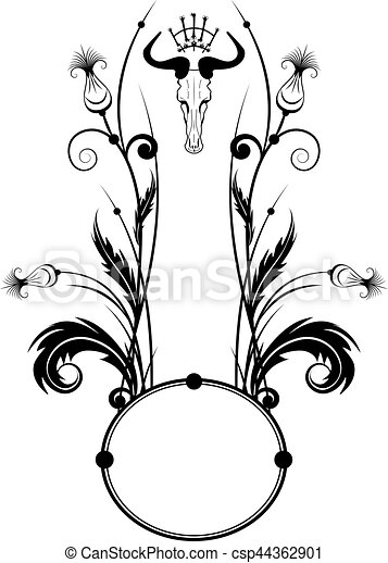Vector frame with thistle and skull in black and white.