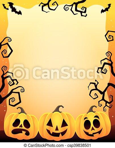 Frame with three Halloween pumpkins - csp39838501