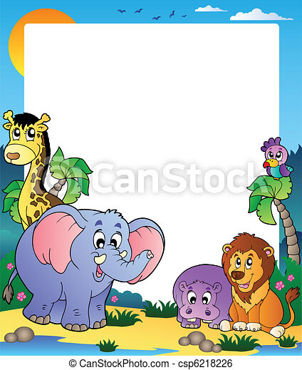 Frame with tropical animals 1 - csp6218226