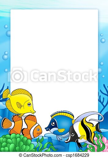 Frame with tropical fishes 1 - csp1684229