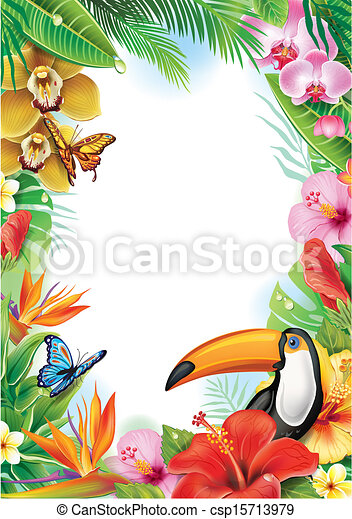 Frame with tropical flowers, butterflies and toucan - csp15713979