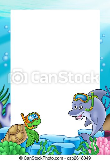 Frame with turtle and dolphin - color illustration. stock ...