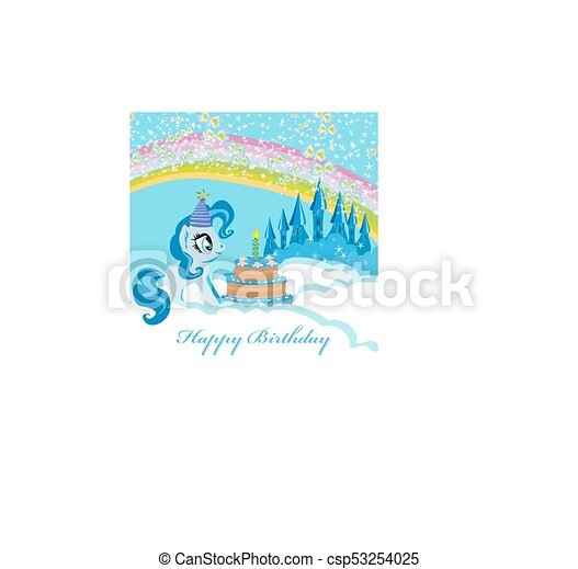 frame with unicorn and birthday cake - csp53254025