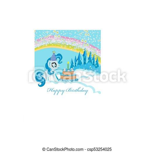 frame with unicorn and birthday cake - csp53254025